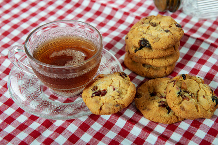 a cup of tea with cookies 스톡 콘텐츠