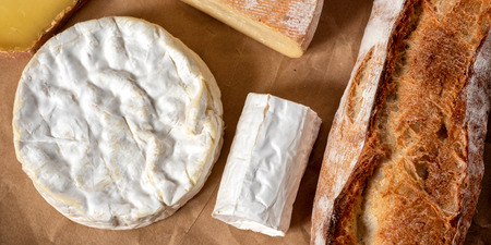 a Camembert cheese traditional Normandy French with bread