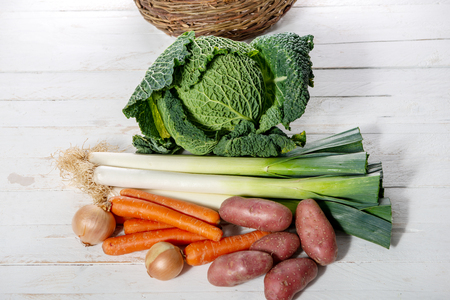 seasonal vegetables for preparation of a french pot au feu