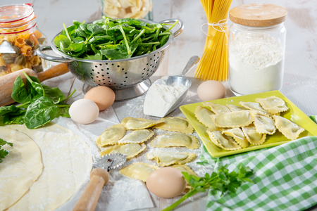 delicious traditional italian ravioli filled with spinach