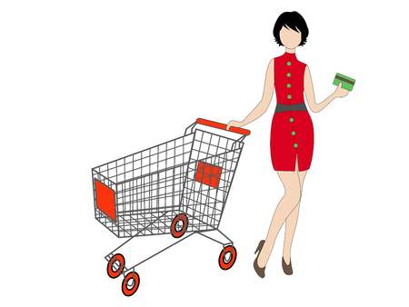 a young woman with the shopping cart and a credit card