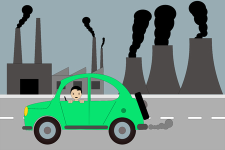 the cars and the factory pollution in the world