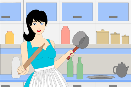 a smiling young woman in the kitchen