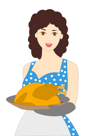 a smiling young woman with Christmas turkey