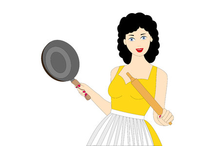 a smiling young woman cooking on the white background Vectores