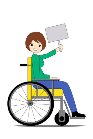 a smiling young woman in a wheelchair