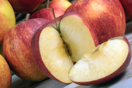 red and yellow organic apples from the Normandy