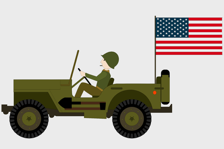 amilitary jeep with a soldier and an american flag