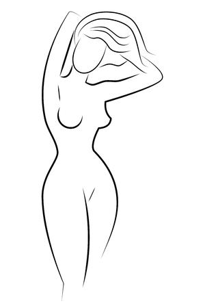 eine Silhouette eines Mädchens. einfache Tuschezeichnung. Schwarz und weiß.