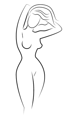 a silhouette of a naked girl. simple ink drawing. black and white.