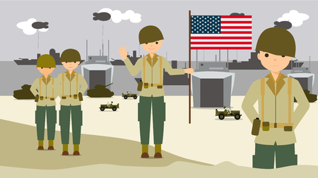 the american soldiers on the landing beaches in normandy France Ilustrace
