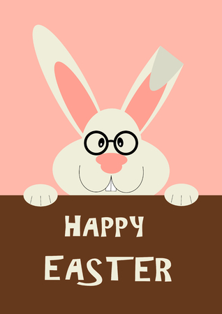 Greeting card with Easter rabbit. Funny bunny in flat style