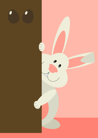 a greeting card with Easter rabbit. Funny bunny in flat style Vectores