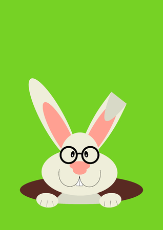 a rabbit in hole. Easter bunny, vector illustration