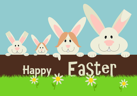 a greeting card with family  Easter rabbit. Funny bunny in flat style