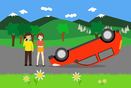 a young couple has an accident with a red car Standard-Bild - 116249052