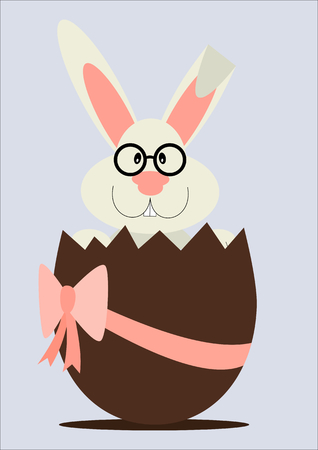 Greeting card with Easter rabbit. a funny bunny in chocolate egg Vectores