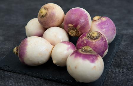 close up of group of organic turnips Foto de archivo