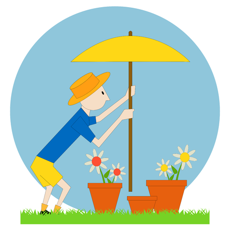 a gardener man with the flowers and a parasol