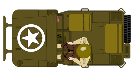 a top view of antique  military jeep with a soldier