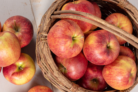 delicious red and yellow organic apples from Normandy