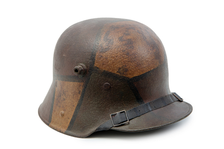 a German World War One (Stahlhelm) military helmet on white background