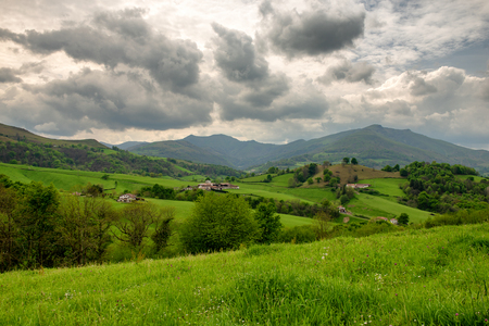 landscape of Pays Basque, Green hills. French countryside in the Pyrenees mountains in Basque Country, France