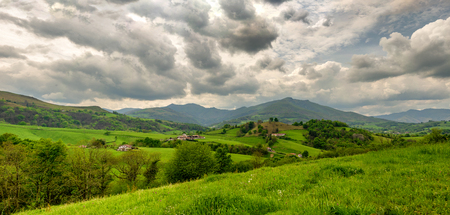 landscape of Pays Basque, Green hills. a French countryside in the Pyrenees mountains