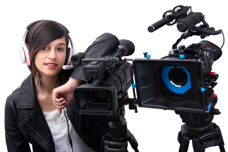smiling young woman with professional video camera, isolated on white background