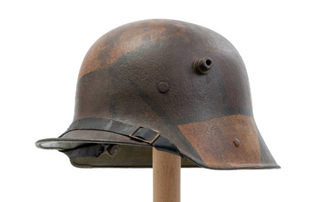 German World War One (Stahlhelm) military helmet isolated on white background Foto de archivo