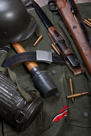 a vintage background with german army field equipment. ww2 Imagens