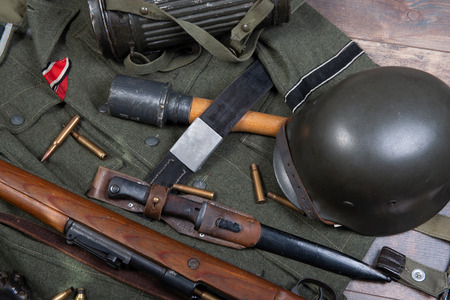 a vintage background with german army field equipment. ww2 Stock Photo