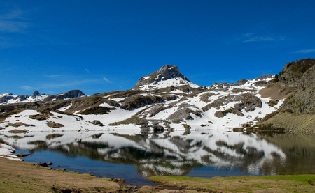 a mountain lake reflection in the french Pyrenees