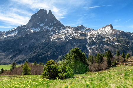 view of Pic du Midi Ossau in springtime, in the french Pyrenees Banco de Imagens