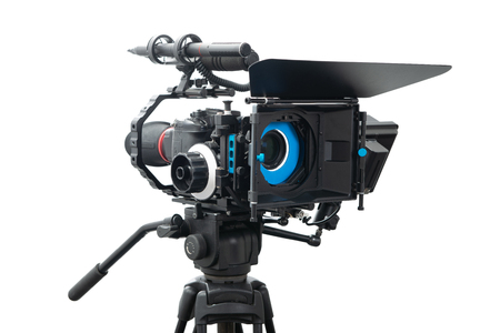 dslr video camera rig isolated on the white background