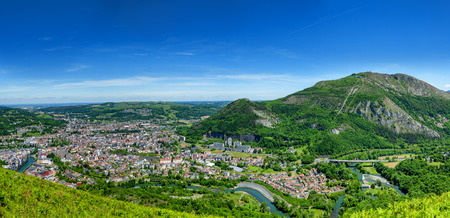 Panorama of the city of Lourdes, famous for his pilgrimage, France