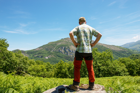 back view of hiker man watching the Pyrenees mountains Banco de Imagens