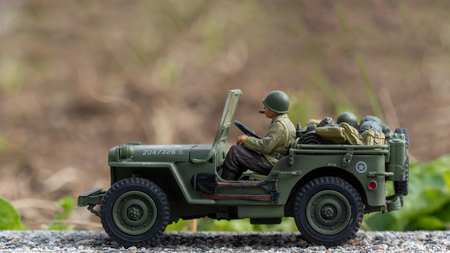 a scale model toy wartime Jeep outdoor