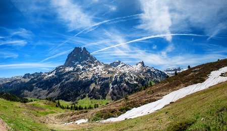 a view of Pic du Midi Ossau in springtime, french Pyrenees Banco de Imagens