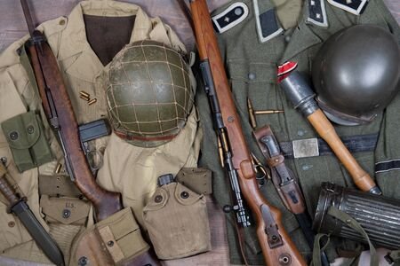 the world war two military american and german equipment