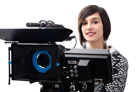 young woman with professional video camera, SLR, isolated on white background