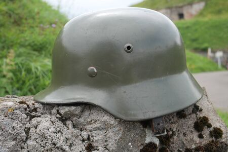 a German army helmet World War II period, outdoors