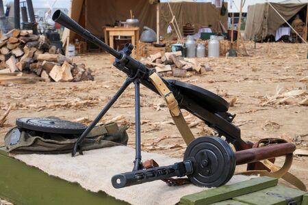 close up of two soviet machine gun