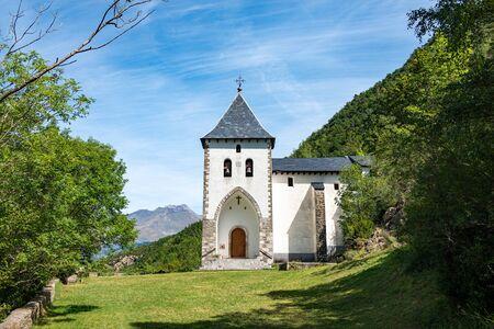 Santa Elena Hermitage, Biescas in Tena Valley, Pyrenees, Huesca Province, Aragon, Spain Stock fotó