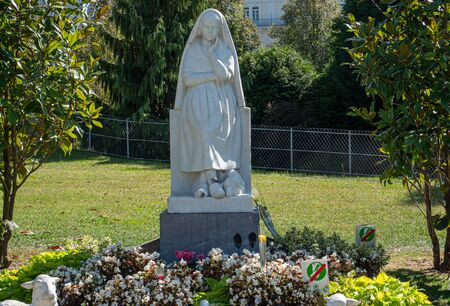 a Statue of Bernadette of Lourdes with flowers