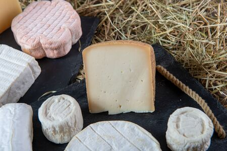different delicious French cheeses on the straw