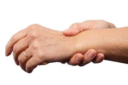 a close up of wrist pain. Woman