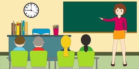 Classroom with children. A teacher woman at the blackboard. Educational concept.