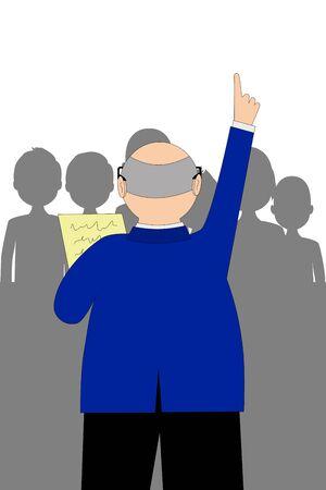 Vektorgrafik eines Geschäftsmannes oder Politikers, der mit einer Menschenmenge spricht Vektorgrafik