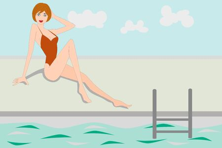 Beautiful young woman near the swimming pool Vectores